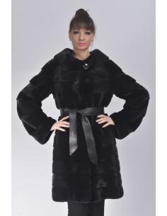 No collar black mink coat with black leather belt front side