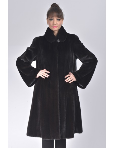 Oversized black mink coat front side