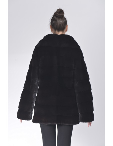 Short black mink coat without collar back side