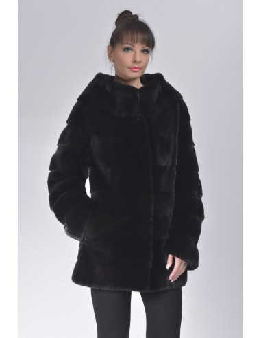 Short black mink coat without collar front side