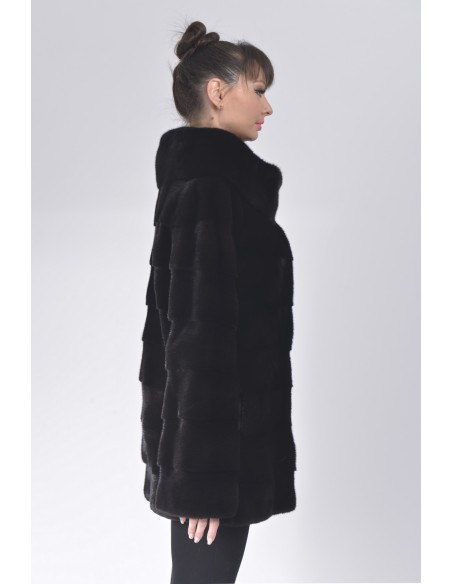 Short black mink coat without collar right side