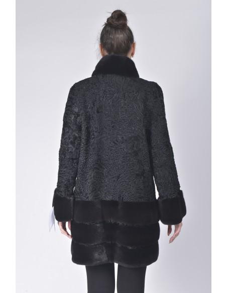 Short black karakul fur coat with black mink fur back side