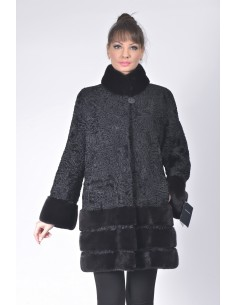 Short black karakul fur coat with black mink fur front side