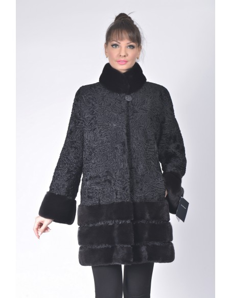 Short black karakul fur coat with black mink fur front side