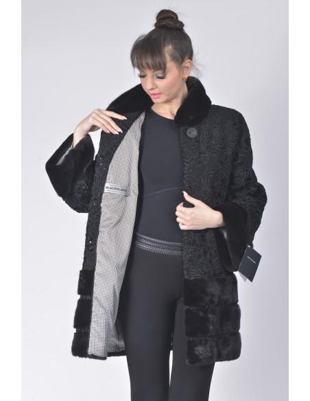 open short black karakul fur coat with black mink fur front side