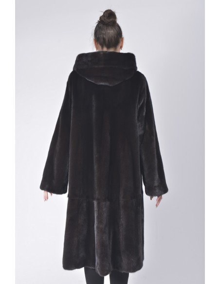 Long black mink coat with hood back side