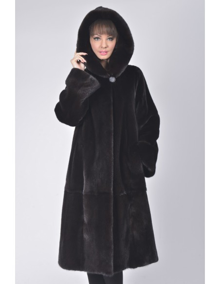 Long black mink coat with hood front side