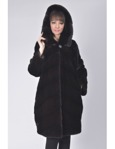 Black mink fur coat with hood front side
