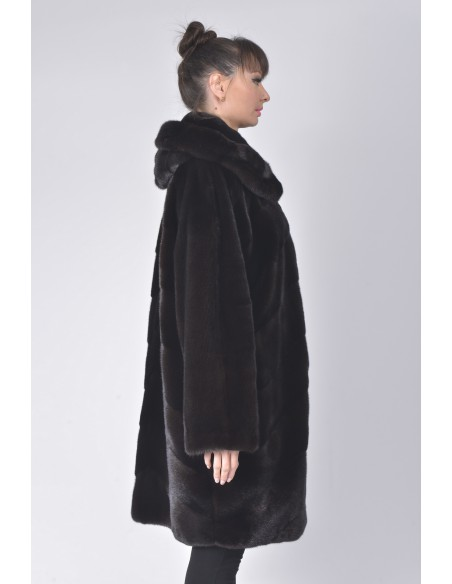 Black mink fur coat with hood right side