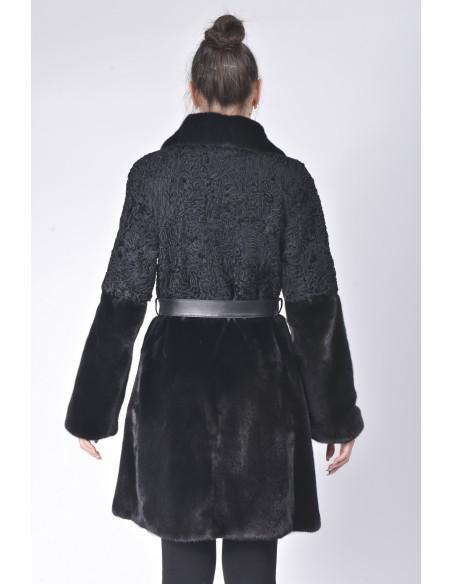 Black mink and karakul fur coat with  black leather belt back side