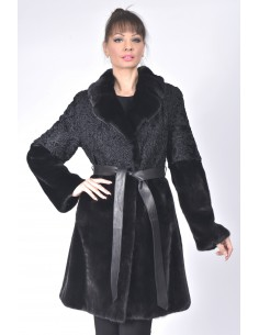 Black mink and karakul fur coat with  black leather belt front side