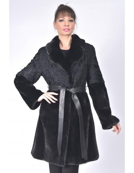 Black mink and karakul fur coat with  black leather belt front side
