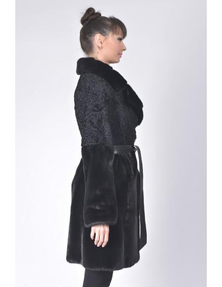 Black mink and karakul fur coat with  black leather belt right side