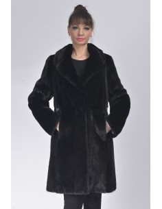 Black mink fur coat with lapel fur collar front  side