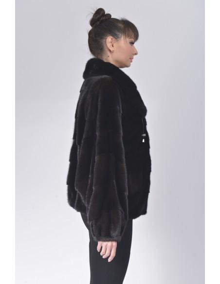 Black mink fur jacket right side