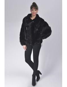 Black mink fur jacket front side