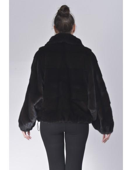 Black mink fur jacket back side
