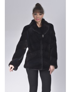 Black mink jacket with lapel fur collar front side