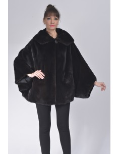 Oversized black mink jacket with hood front side