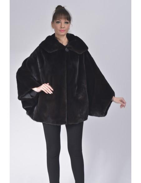 Oversized black mink jacket with hood front side