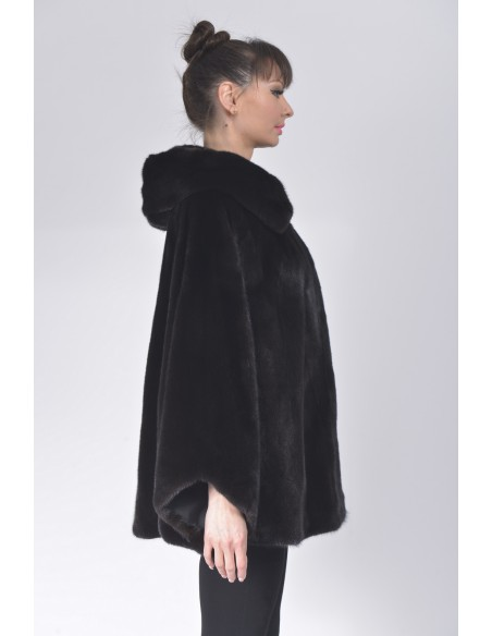 Oversized black mink jacket with hood right side