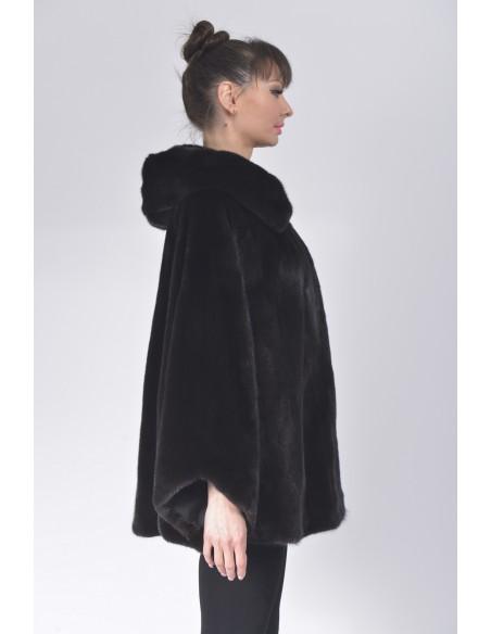 Oversized black mink jacket with hood right side