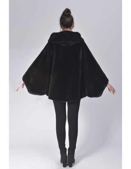 Oversized black mink jacket with hood back side
