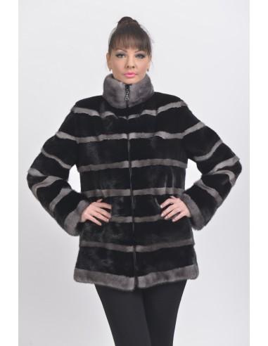 Black and silver-blue mink jacket front side
