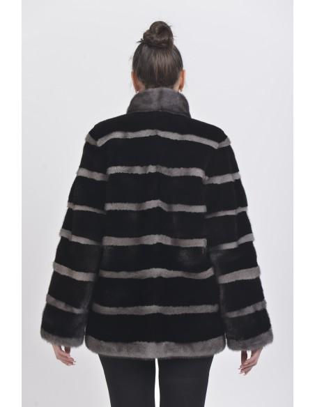 Black and silver-blue mink jacket back side