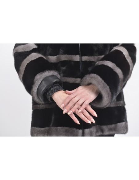 Black and silver-blue mink jacket sleeves