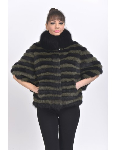 Black and green fox jacket with 3/4 sleeves front side