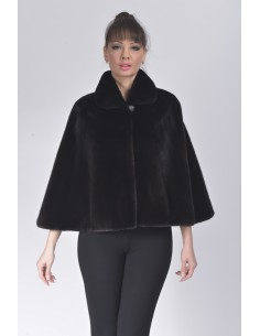 Black mink fur jacket with 7/8 sleeves front side