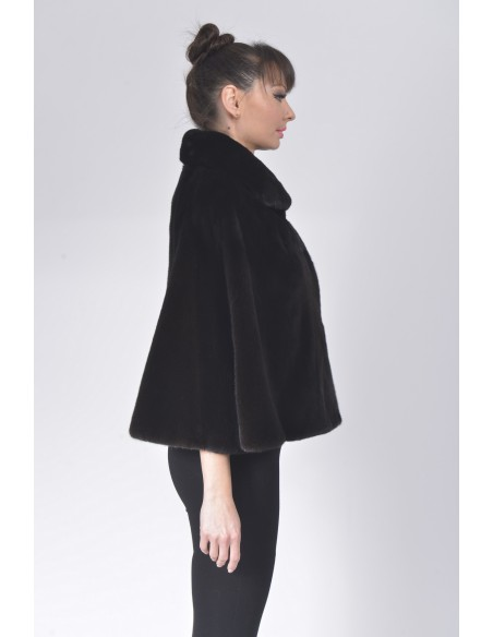 Black mink fur jacket with 7/8 sleeves right side