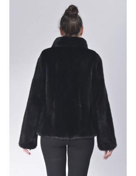 Black mink fur jacket back side