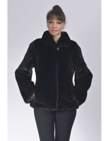 Black mink fur jacket front side