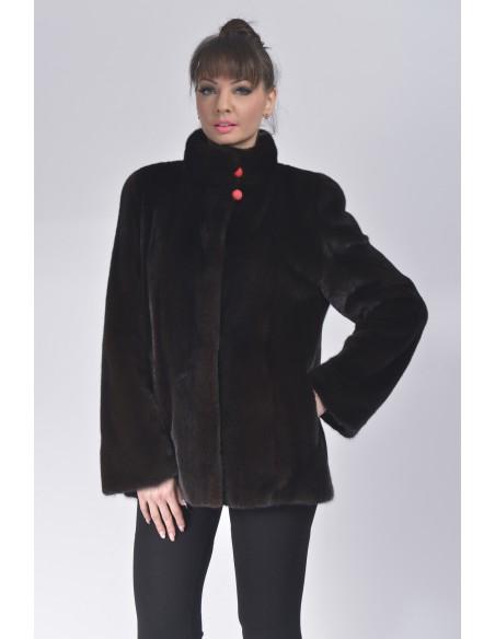 Black mink jacket with high fur collar front side