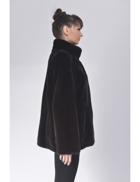 Black mink jacket with high fur collar right side