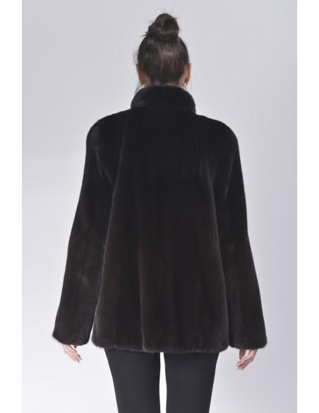Black mink jacket with high fur collar back side