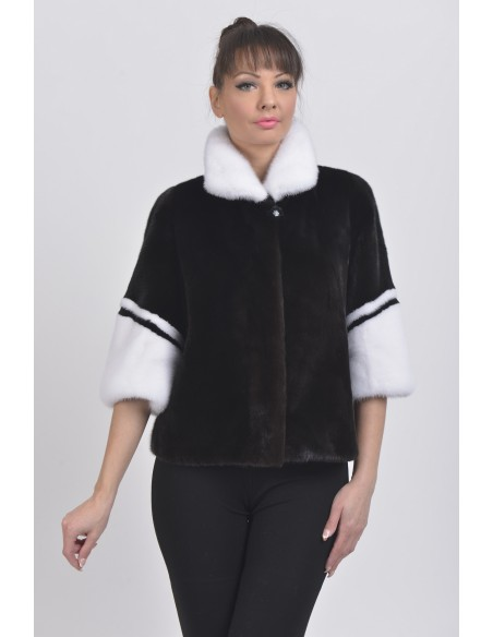 Black and white mink jacket with 3/4 sleeves front side