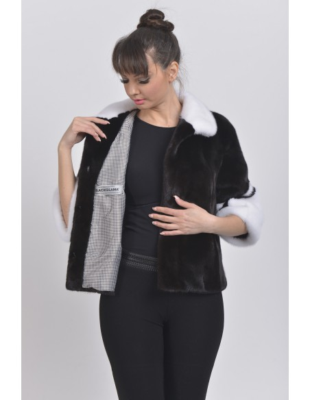 open black and white mink jacket with 3/4 sleeves front side