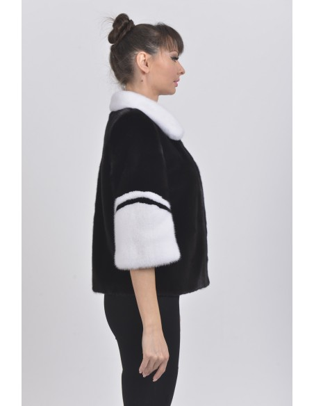 Black and white mink jacket with 3/4 sleeves right side