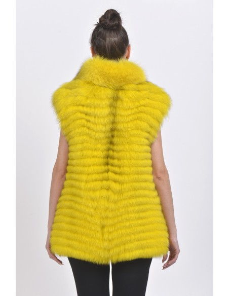 Yellow fox fur vest back side
