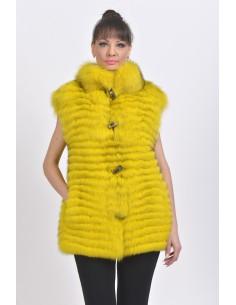 Yellow fox fur vest front side