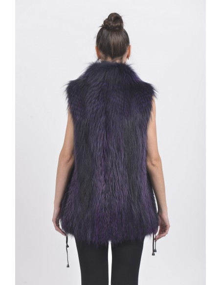 Purple fox fur vest back side