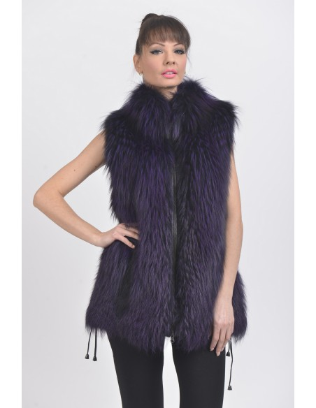 Purple fox fur vest front side