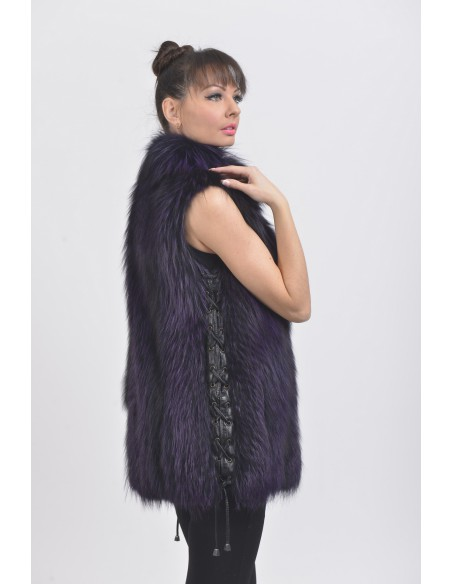 Purple fox fur vest right side