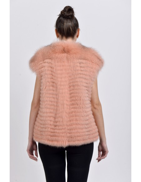 Pink fox fur vest back side