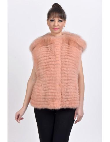 Pink fox fur vest front side