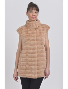 salmon mink vest front side
