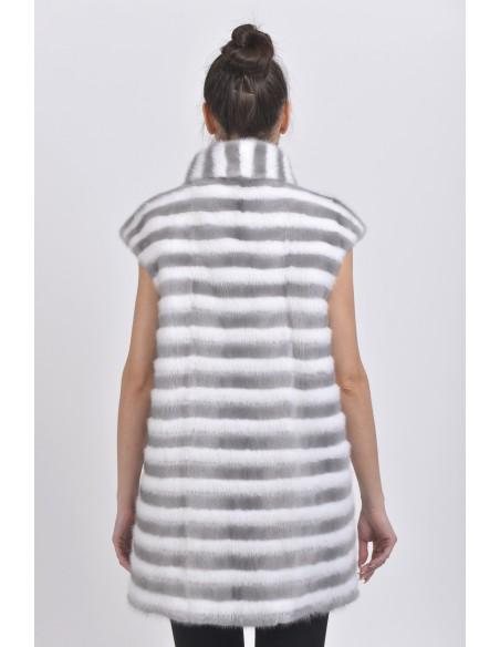 Blue-grey and white mink vest back side